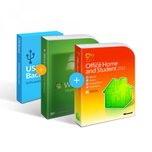 Combo Office 2010 Home & Student + Windows 7 + USB Software Backup